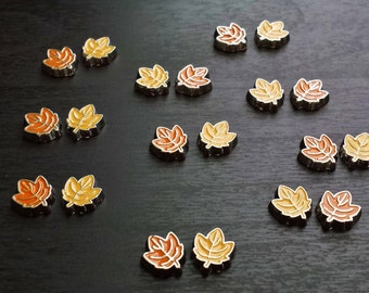 Set of 2 Leaf Floating Charms for Floating Lockets-Yellow & Orange Leaves-Gift Idea
