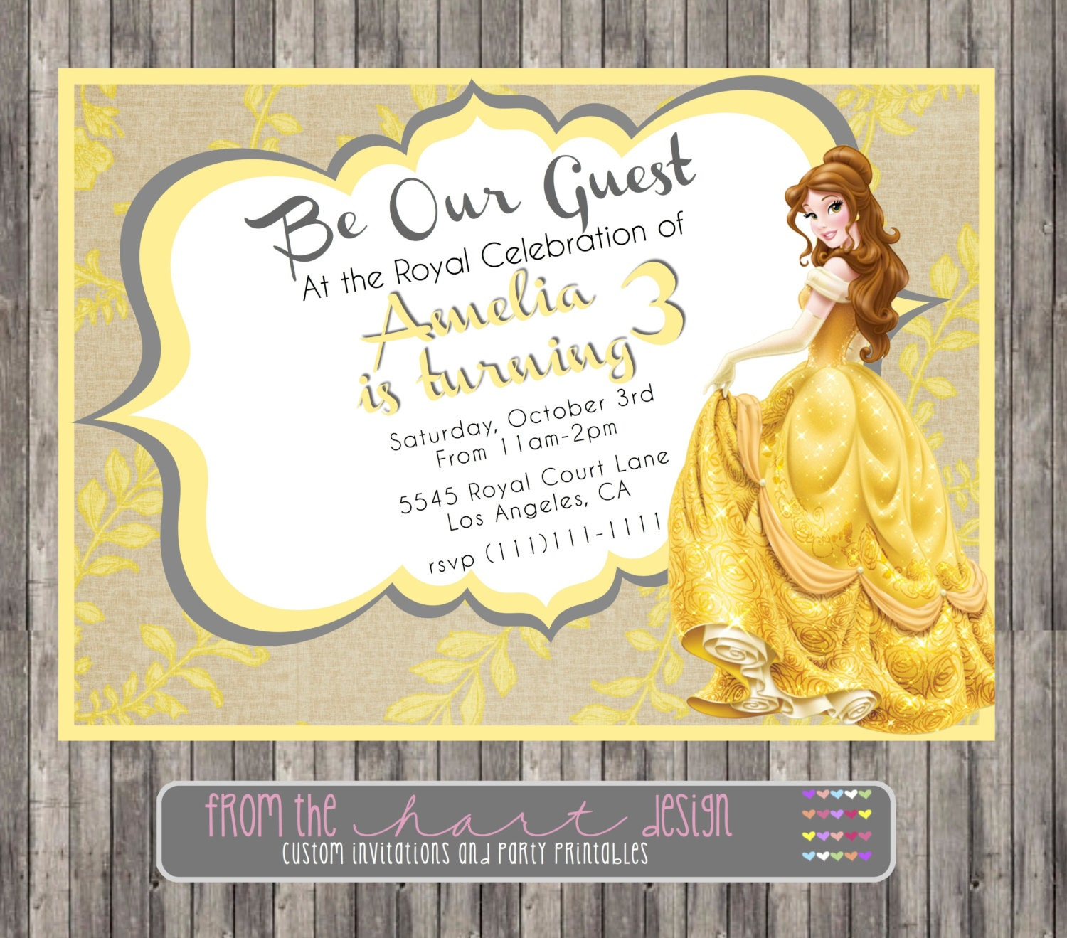 BEAUTY and the BEAST Princess Belle Girl Birthday Party Printable ...