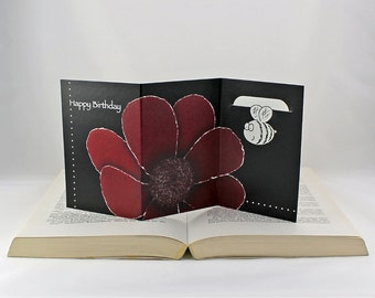 Chocolate Cosmos Birthday Card, Greeting Card with Stainless Steel Bookmark Gift