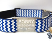 Happy Pet Collar - Chevron Stripe Personalized Dog Collars with FREE Engraved 304 Stainless Steel Tag/ 1 inch width/ Adjustable - BLUE