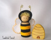 Waldorf Inspired Honey Bee Peg Doll with Wooden Hive ~ Black and Yellow ~ Wood Toy ~ Spring ~ Summer ~ Bee Toy ~Bumble Bee Toy