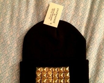 Studded Beanie Long Knit Black