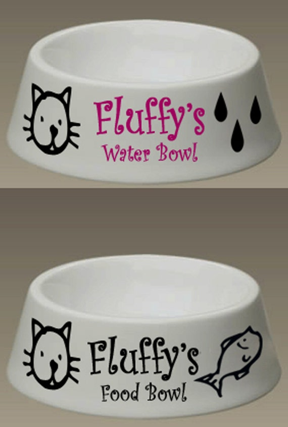 2 Personalized Pet Cat Dog Water Food Dish Bowl By