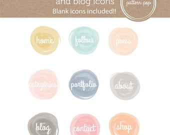 Watercolor Website and Blog Icons - social media icons - blog buttons