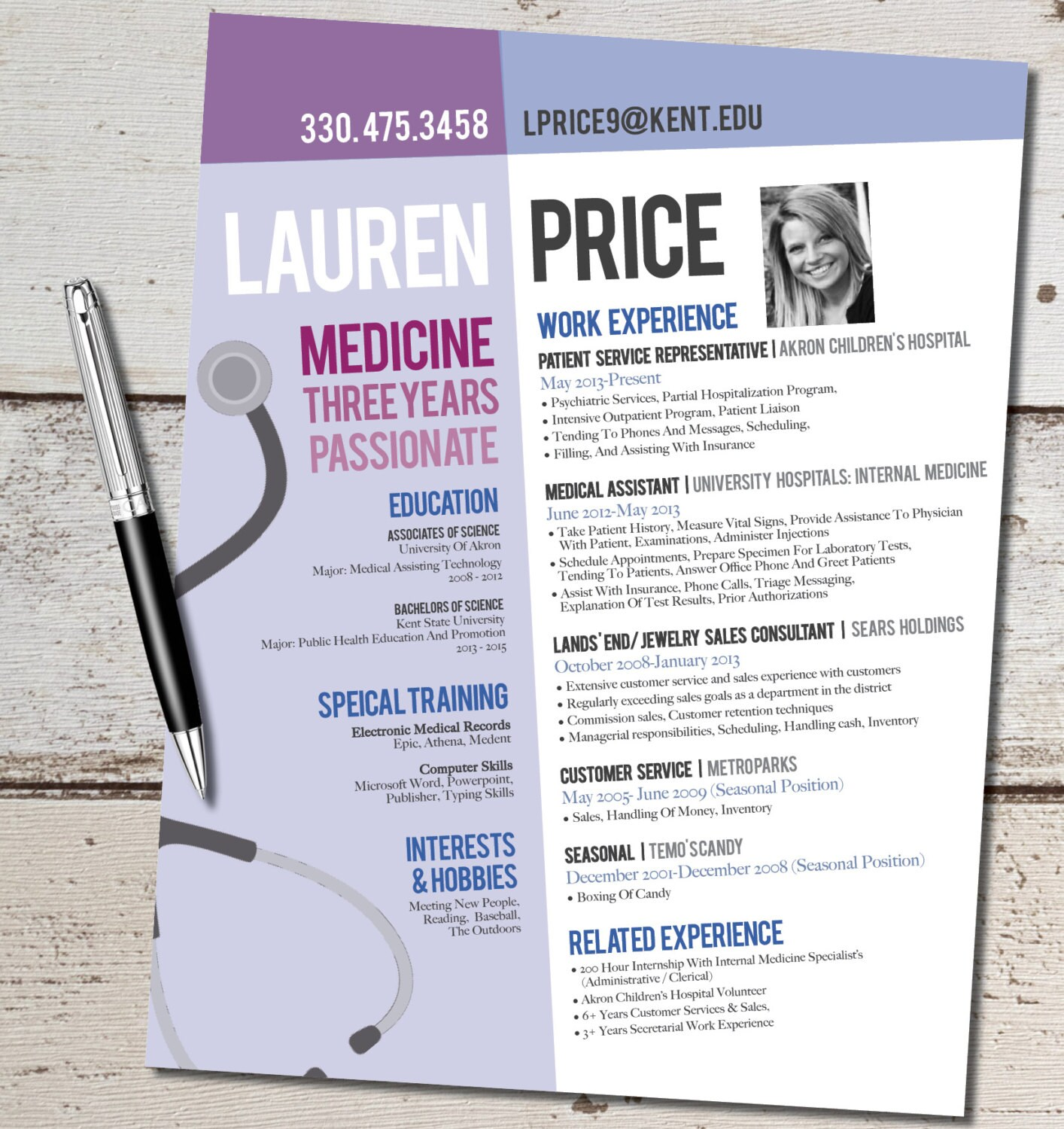 The Lauren Modern Resume Design Medicine Nurse By