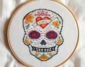 Cross stitch pdf file of Day of the Dead sugar skull - Amor. Download available once payment is received.
