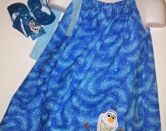 Frozen Olaf Snowman Snow Man Blue Pillowcase Pillow Case Girl Boutique Summer Sun Dress! Optional Bow Available! Sizes 3, 4, 5, 6, 7
