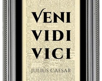 Veni vidi vici, Latin quote print, art poster, Dictionary book art, Gift, Wall decor, Motivational posters, Typographic print, CODE/048