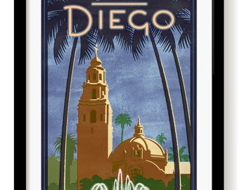 San Diego poster print  Balboa Park unframed and framed