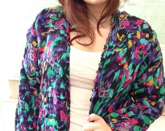 Neon Graphic Feather Print Open Cardigan- can be warn inside or outside