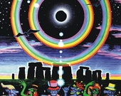 Eclipse Over Stonehenge UV Black Light Fluorescent & Glow In The Dark Phosphorescent Psychedelic Psy Goa Trance Art Poster