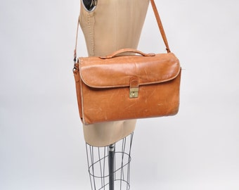 vintage leather bag satchel ipad case messenger tote distressed laptop