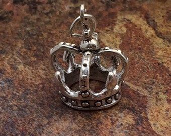 Crown Charm, Sterling Silver Crown Charm, Sterling Silver Charm, Sterling Silver Pendant, PS0623