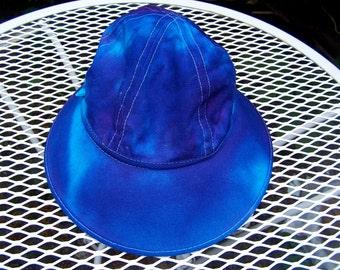 Handmade Tie Dye tie dyed Hat Blue Purple