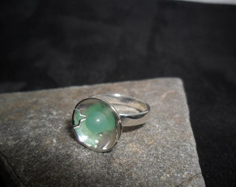 Sterling silver ring decorated with d an aventurine
