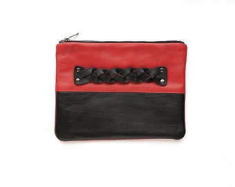FREE SHIPPING handmade purse color blocking genuine leather black red fashion clutch