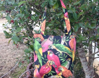 Colorful Parrots Fabric Purse, Birds, Shoulder Bag, Fabric Purse, Handbag