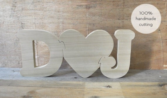 Wooden Letters With Heart For WeddingValentines Gift Hand