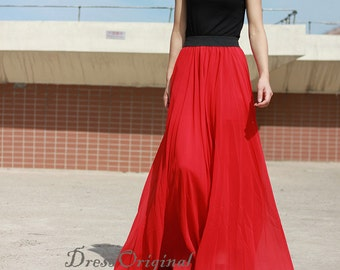 red Maxi skirt,  red floor-length skirt, Double layered chiffon skirt, long  skirt, draping skirts