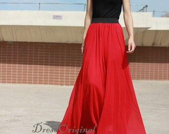 Red long skirt | Etsy