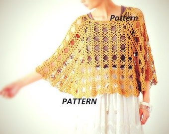 PATTERN collar crochet necklace scarf poncho cape