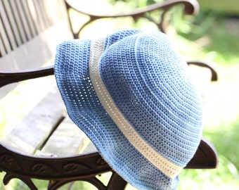 Crochet Hat Blue Summer Hat With Brim Womens Sun Hat