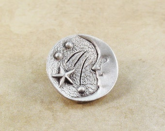Moon and Star Metal Buttons 19mm Antique Silver Qty 3