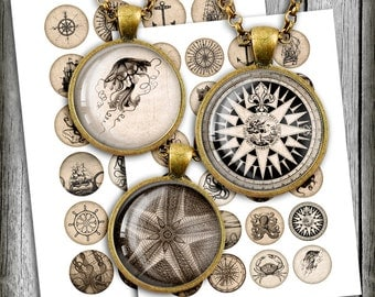 Nautical Images 1 inch, 25mm, 1.5inch Circle Bottle cap images Vintage Printable Digital Collage Sheet