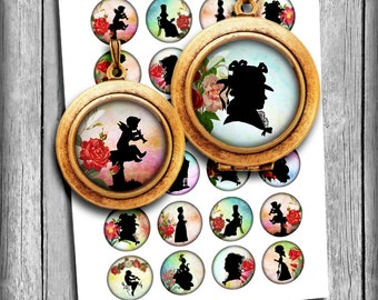 Victorian Silhouettes Circles 1 inch, 30mm, 25mm, 1.5 inch for  Pendants, Bottlecaps - Digital Collage Sheet - Instant Download