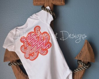 Appliqué Octopus Bodysuit, nine month size, short sleeve, pink and orange chevron patterned octopus - perfect for a summer wardrobe