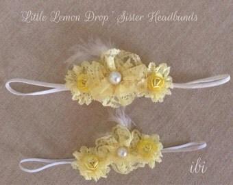 Little Lemon Drop sister headband set handmade lemon sunshine yellow lace blooms