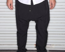 Black Dress Pants Polyester /Cotton Blend Fabric - Mens Joggers or  Drop Crotch - Tailored Street