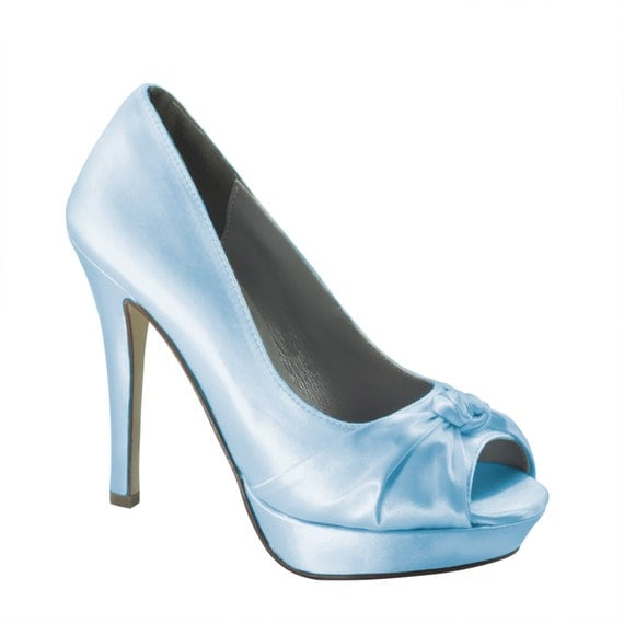 Bride's Platform High Heels Blue Wedding Shoes Satin Shoes Bridesmaid Prom 4 inch Heel