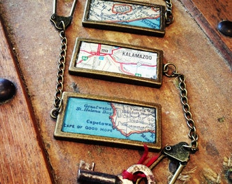 CUSTOM Vintage Map Keychain - Choose any location in the World!