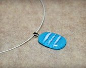 Light blue and white Fused Glass Necklace, Fused Glass Pendant, abstract necklace