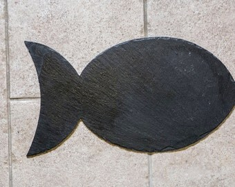Plain Slate Cat Head or Fish Shaped Food Mat