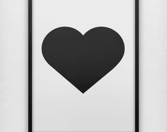 Simple black heart art print, modern black and white minimalist wall poster