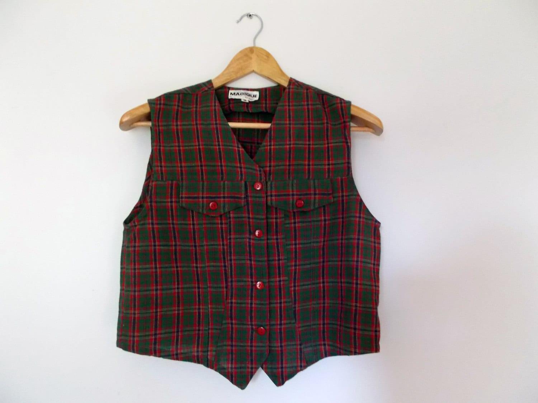 vintage vest tartan vest plaid vest red vest green vest. Black Bedroom Furniture Sets. Home Design Ideas
