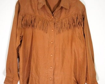 Vintage 90's Silk Button Up Top with Fringe / Western / Oversized / L / Brown / Shirt /