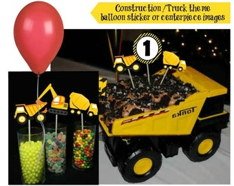 INSTANT CONSTRUCTION/TRUCK Theme Centerpiece Images or Balloon Stickers Iron On Transfers