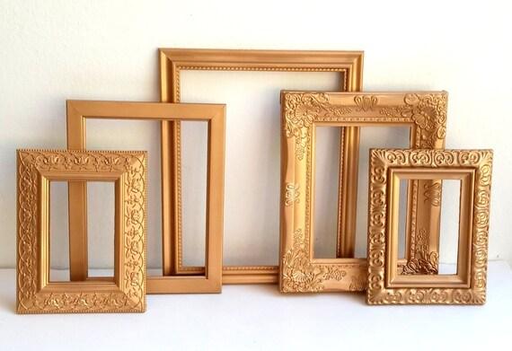 Set 5 cornici d 39 oro elegante cornice dorata ornato for Set cornici da parete