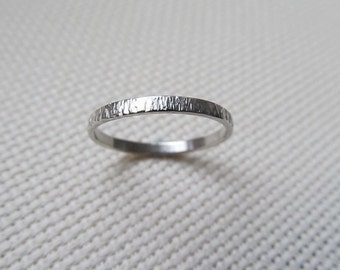 Textured Tree Bark Ring - Sterling Silver