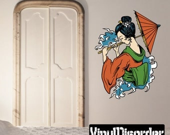 Japanese Geisha Wall Decal - Wall Fabric - Vinyl Decal - Removable and Reusable - JapaneseGeishaUScolor002ET