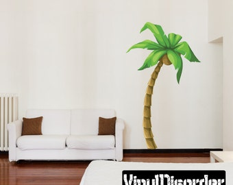Palm Tree Wall Decal - Wall Fabric - Vinyl Decal - Removable and Reusable - PalmTreeUScolor002ET