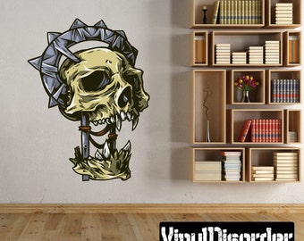 Skull Wall Decal - Wall Fabric - Vinyl Decal - Removable and Reusable - SkullUScolor007ET