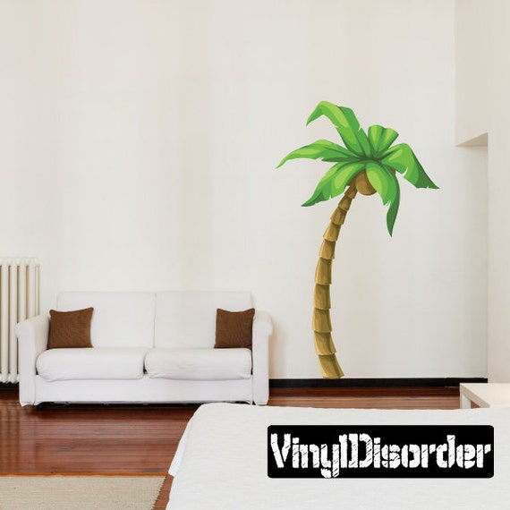 palm tree wall decal wall fabric vinyl decal removable. Black Bedroom Furniture Sets. Home Design Ideas