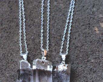 Silver Dipped Quartz Necklace // Crystal Quartz Point Necklace // Silver Quartz Necklace // Healing Crystal Necklace // Clear Quartz Pendant