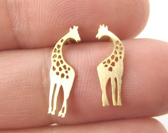 Classic Giraffe Silhouette Shaped Stud Earrings in Gold  | Minimalistic Handmade Animal Jewelry