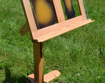 Music Stand, solid oak wood, with decorative mandolin sunburst panel inserts, Book Stand