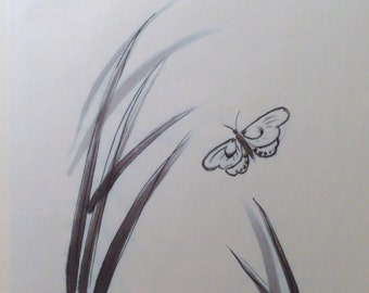 White butterfly - print (9x12 inches) sumi-e